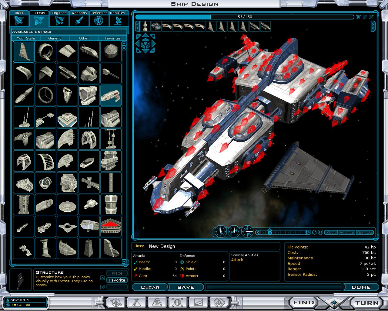 Galactive Civilizations 2:  Constructing space vehicles from hard points.